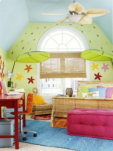 墙画的图案和色彩要服从整体设计风格