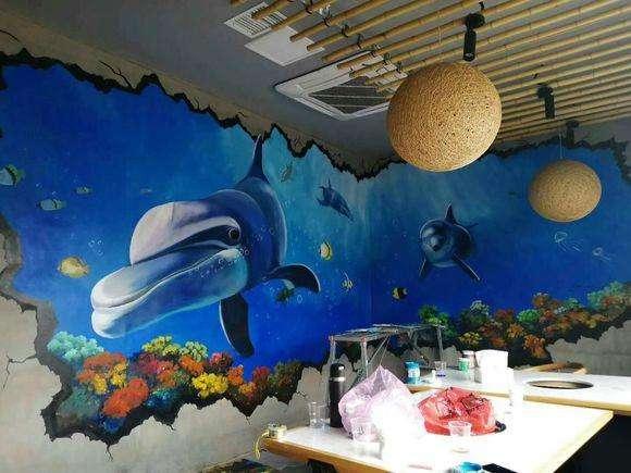 餐馆墙绘画图片