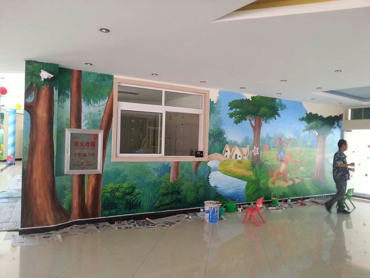 南昌幼儿园外墙彩绘,南昌3d墙绘,南昌墙上写字,南昌3d立体画墙绘
